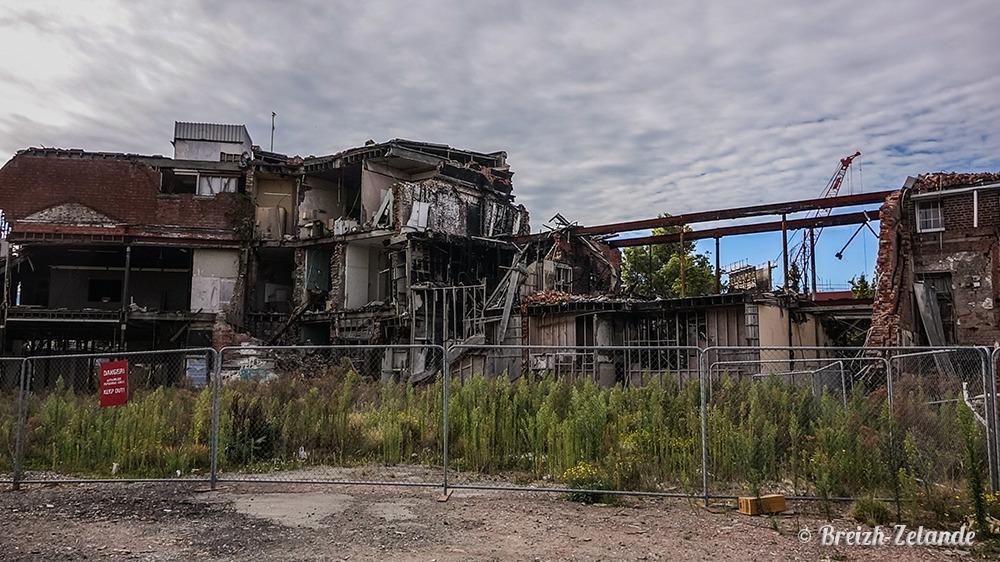 Batiment détruit à Christchurch
