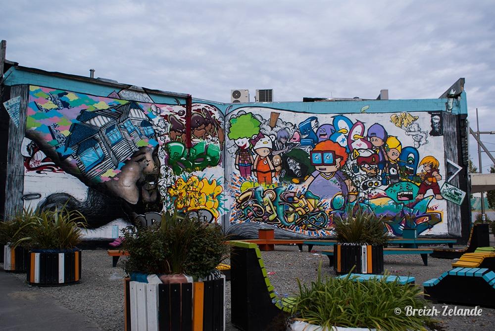Peinture géante et parc à Christchurch